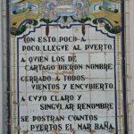 Azulejo honorífico a los versos de Miguel de Cervantes tras su paso por Cartagena